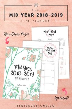 The Mid Year 2018-2019 Life Planner is perfect for you if you haven't yet sat down to plan for the rest of the year or the following year ahead! This beautiful and elegant planner will help bring you clarity to your goals, projects, schedule, and life!