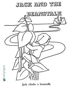 Fairy Tale - Printable Jack and the Beanstalk coloring pages, coloring sheets and pictures for kids, children. Printable Coloring Pages, Coloring Pages For Kids, Coloring Sheets, Picture Comprehension, Jack And The Beanstalk, Fun Games For Kids, Dramatic Play, Early Learning, Fairy Tales