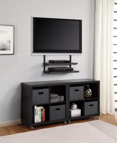 Small Shelves Under Wall-Mounted TV