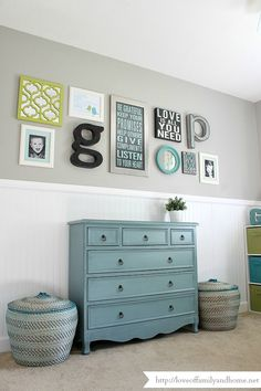 - Love of Family & Home. Wall color: Route 66, Glidden. Lovely. Fabulous blue dresser.