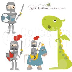 Some Knights and One Very Bored Dragon Digital Clip Art - Personal and Commercial Use
