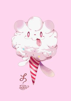 alternative-pokemon-art:  Artist   Tumblr   Art Tumblr Swirlix by request. There's something about Swirlix that I love so much.. and Vanillite, too - I can't quite put my finger on it.  Reposted because a) this picture is amazing, and b) the artist wanted me to add a link to their Tumblr account as well.