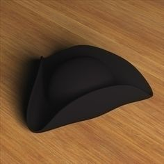Three Cornered Hat.zip 3D Model-   This model was created in the application Cinema 4D. The model comes with a plane black texture. - #3D_model #Mens Accessories,#Mens Apparel,#Women Apparel