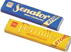 Chocolate bars from my childhood: Senator (dark) og Pernille (milk). My name is Pernille - so one of my nicknames was Pernille Chocolate.