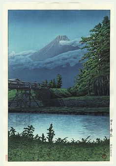 NAGONOURABASHI BY KAWASE HASUI. I never tire of viewing the delicate lighting achieved in woodblock prints. This is magnificant!! #woodblock #prints www.richard-neuman-artist.com