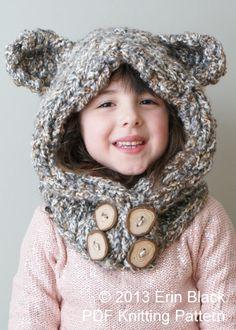 Knitting PATTERN  Chunky Bear Hood in Toddler by ErinBlacksDesigns, $5.50