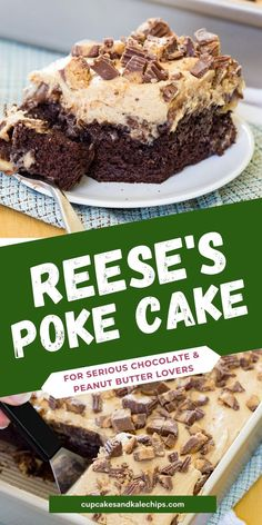 49 reviews · 45 minutes · Vegetarian · Serves 24 · Peanut Butter Cup Poke Cake - with layers of cake, peanut butter pudding, chocolate frosting, peanut butter whipped topping, and peanut butter cups, this easy Reese's cake is the ultimate chocolate… Chocolate Peanuts, Chocolate Peanut Butter, Chocolate Cake, Chocolate Frosting, Dessert Cake Recipes, Easy Desserts, Cinnamon Cookies, Food Cakes, Food Items