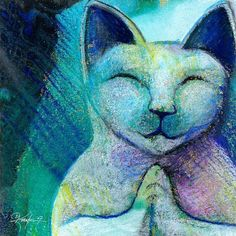 Buddha Cat by Kathy Morton-Stanion aqua turquoise teal Cat Crafts, Cat Drawing, Cat Love, Cool Cats, Cat Art, Bunt, Cats And Kittens, Illustration Art, Artsy