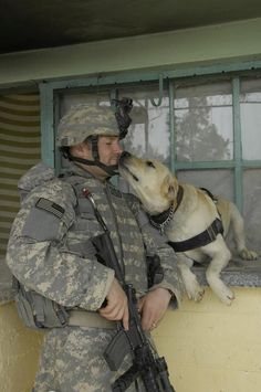 A US MWD Handler gives MWD Lucky some love while taking a break during a cordon and search in Mosul, Iraq, June 8, 2008. The team is assigned to 3rd Squadron, 3rd Armored Cavalry Regiment.         photo by Pfc. Sarah De Boise