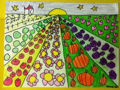 Cute take on Perspective: Art with Mrs. Narens: Kindergarten Grade Art: First Grade Perspective Drawings Classroom Art Projects, School Art Projects, Art Classroom, First Grade Art, 2nd Grade Art, Second Grade, Perspective Art, Ecole Art, Farm Art