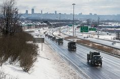 Some of the 800 wheeled military vehicles taking part in a major road movement during Exercise RAFALE BLANCHE Photo: Cpl Geneviève Lapointe, Valcartier Imaging Section Canadian Army, Photos Of The Week, Military Vehicles, Cool Photos, Canada, Modern, Wheels, Trendy Tree, Army Vehicles
