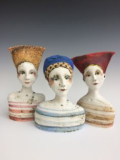Each piece is unique, passing on an underlying sense of warmth and humanity. Pottery Sculpture, Sculpture Clay, Abstract Sculpture, Ceramic Sculptures, Paper Clay Art, Polymer Clay Crafts, Ceramic Mask, Clay Faces, Ceramic Figures