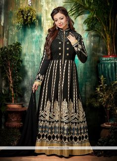 Be your own style icon with captivating Ayesha Takia black georgette anarkali salwar kameez. The lovely embroidered and patch border work a substantial feature of this attire. Comes with matching bott...