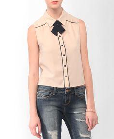 $17.80...Sleeveless Shirt w/ Buttoned Neckerchief | FOREVER21 - 2000039390