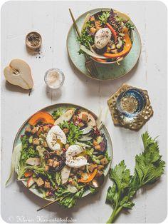 Bittersüßer Herbstauftaktsalat Main Dishes, Healthy Lifestyle, Veggies, Nutrition, Salad, Plates, Tableware, Foodblogger, Summer Vibes