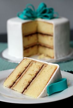 Vanilla Cake with Tiramisu Buttercream and Bittersweet Ganache Filling  Makes one three-layer 9-inch round cake, or a three-layer 8-inch round cake and 6 cupcakes.  Cake recipe adapted from Sky High: Irresistible Triple-Layer Cakes.