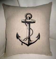 French Anchor Nautical Inspired Pillow by frenchcountrydesigns, $17.99