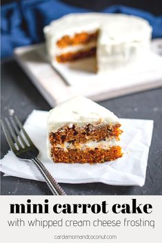 A flavorful, spiced mini carrot cake with fluffy, whipped cream cheese frosting. Whipped Cream Cheese Frosting, Cake With Cream Cheese, Mini Cakes, Cupcake Cakes, Cupcakes, Poke Cakes, Layer Cakes, Fall Desserts, Delicious Desserts