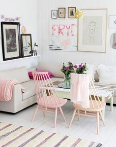 Living Room Lust / Love the shelves   art   couch & chair setup) the subtle pink... <3