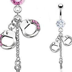 Bauchnabelpiercing Handschellen in kristall oder pink