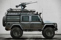Machine Gun Turret - for those bad drivers on the road type of days Land Rover Defender 110 'Predator' Military Vehicles For Sale, Army Vehicles, Armored Vehicles, Landrover Defender, Land Rover Defender 110, Acessórios Jeep Wrangler, Cool Trucks, Cool Cars, Pick Up