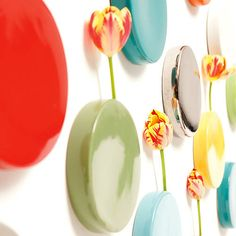 ordered 4 of these wall dot vases after seeing them at a boutique in Denver. Probably will hang near glider. Orange Walls, Blue Walls, Wall Mounted Vase, Wall Vases, Wall Planters, Chicago Architecture Foundation, Do It Yourself Home, Flower Vases, Wall Flowers