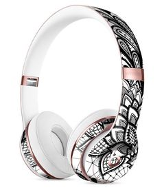 Black and White Geometric Floral Full-Body Skin Kit for the Beats by Dre Solo 3 Wireless Headphones