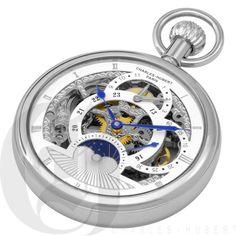 Gold Open Face Mechanical Charles Hubert Pocket Watch & Chain #3816-W