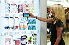 Tesco: installs a virtual fridge at Gatwick. the 'virtual store' allows passengers at Gatwick's North Terminal to scan up to 80 barcodes of products pictured on the virtual fridges and have them delivered to their homes up to three weeks later. Retail Technology, Technology News, Digital Retail, Gatwick Airport, Retail Signage, Retail Concepts, Interactive Installation, Digital Signage, Experiential