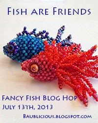 Red Fish - Blue Fish.  The official badge for my 'Fish are Friends' Blog Hop.