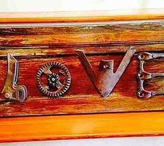 rustic love sign from old farm implement parts, crafts, repurposing upcycling Old Cabinet Doors, Old Cabinets, Repurposed Items, Upcycled Crafts, Repurposed Wood, Salvaged Wood, Farm Tools, Garden Tools, Garden Art