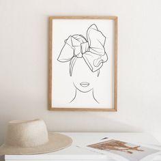 Fashion printable line art African art Woman wall art Illustration Ligne, Outline Art, Cactus Wall Art, Black And White Wall Art, Black Art, Hand Art, Minimalist Art, African Art, Female Art