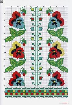 Gallery.ru / Фото #11 - № 51(12) 2016 - irinask Cross Stitch Borders, Cross Stitch Patterns, Pansies, Bookmarks, Kids Fashion, Projects To Try, Embroidery, Knitting, Perfect Love