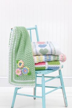 Blankets for Every Baby - Sweet gifts for a new arrival, these baby blankets have the timeless appeal of classic styles plus a fresh feel with updated colors and special details. Mom will love the bright pastels. and Baby will enjoy touching the 3-D flowers and all the nubby patterns. Available at MaggiesCrochet.com