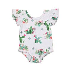 Minesiry Infant Baby Girl Cactus Ruffle Short Sleeve Cotton Romper Bodysuit Tops Clothes (12-24 Months)