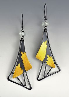 En Pointe Aqua Dangle by Judith Neugebauer: Gold, Silver & Stone Earrings available at www.artfulhome.com
