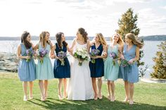 Classic Short Pastel Bridesmaid Dresses in shades of Blue.