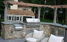 Outdoor kitchen design ideas with sofa