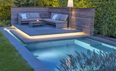 A privacy screen for the pool can be an asset to the garden: the successful interplay of water, stone and wood with lounge furniture, plants and light gives the system a special harmony. in the garden The right privacy screen for the pool Balcony Privacy Screen, Swimming Pools Backyard, Lounge Furniture, Pergola Patio, Pergola Ideas, Backyard Patio, Pool Designs, Beautiful Pictures, New Homes
