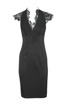 Karen Millen Lace Applique Dress Black-$164