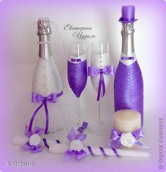 Декор предметов Свадьба Моделирование конструирование Свадебный набор В оттенках фиолета Ленты фото 1