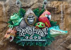 Rainforest Cafe in Orlando, FL Downtown Disney, Disney Springs, Indoor Things To Do, Best Disney Restaurants, Orlando, Rainforest Cafe, Discount Gift Cards, Cafe Sign, Atlantic City