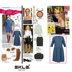 """Lo stile """"frange e jeans"""" contagia anche l'attrice americana Kate Bosworth TU STYLE vede adatto al suo trend look l'abito GIOIA di EKLE'"""
