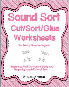 Sound Sort Worksheets for Reading Street Kindergarten  $  Great for literacy centers!