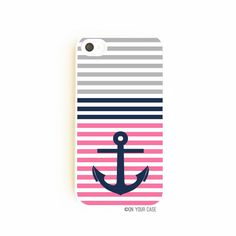 iPhone 4/4S Case  Nautical Stripe Anchor Pink by onyourcasestore