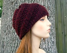 Knit Hat Womens Hat  Swirl Beanie in Oxblood Wine Red by pixiebell