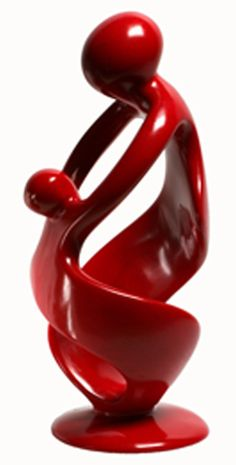 Soapstone Mother & Child in Red. Handcarved by skilled artisans in Kisii, Kenya.