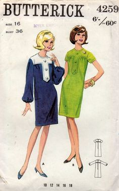 05f8925cba5d Butterick 4259 Womens Button Trimmed Shift Dress 60s Vintage Sewing Pattern  Size 16 Bust 36 inches