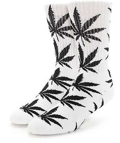 HUF Plant Life Marijuana Weed Pot leaf Crew Socks Light Blue and White