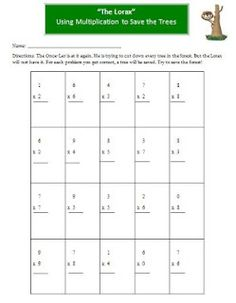 The Lorax Multiplication Activity - for Coley